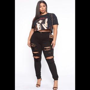 Fashion Nova Blanched Jeans - Black